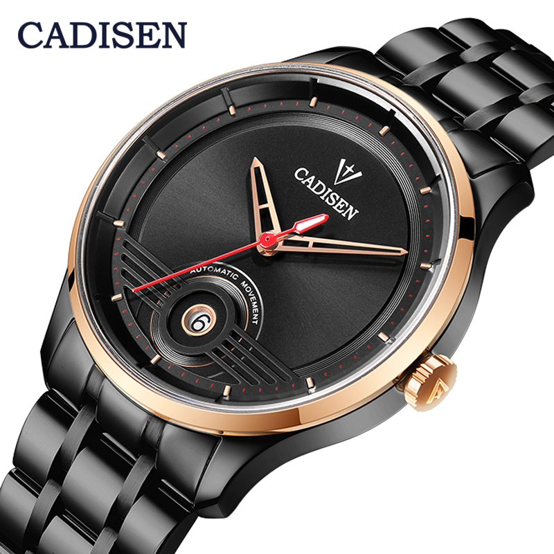 CADISEN Sapphire Men Mechanical Watch Automatic Japan NH35 Movement Fashion Luxury Stainless Steel Male Clock Relogio Masculino