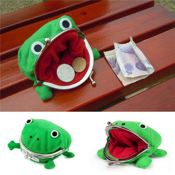1PC Cartoon Frog Coin Purses Wallet Pouch Anime Manga Shape Fluff Clutch Cosplay Green