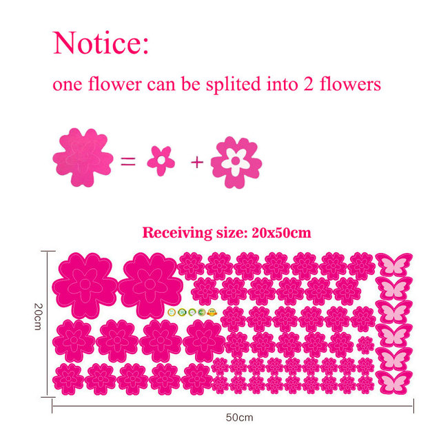 108pcs Flowers & 6pcs Butterfly Wall Stickers 8