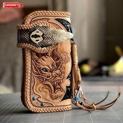 اليدوية النقش التنين النمر رئيس الرجال محفظة طويلة كوبرا رئيس اللؤلؤ الأسماك الجلد الاسترليني الفضة حلية الجلد الحقيقي محافظ