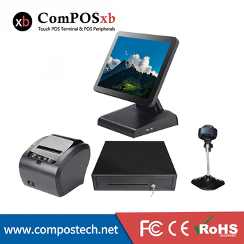 Professionnal cash register 15 inch capacitive touch screen POS system with cash drawer /printer/scanner for shopping mall