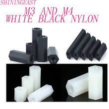 20pcs/lot M3M4 white black nylon hex socket female to male standoffs screws hexagon board stud isolution column bolts1148(China)