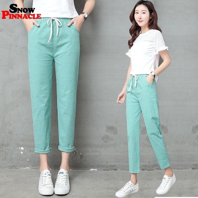 2019 New Women High Waist Elastic Harem Pants Casual OL Cotton Linen Lady Ankle -length Capris Trouser Pencil Pants Summer 1