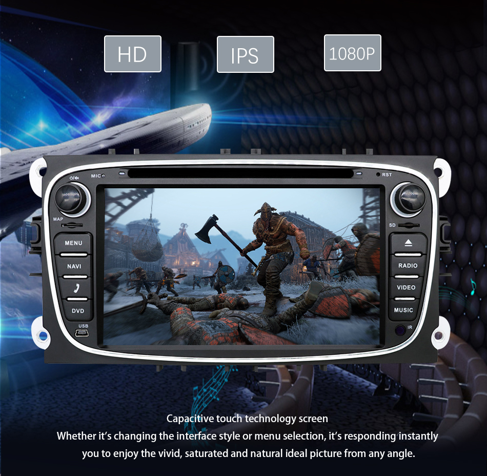 Clearance Eunavi 2 din Android 9.0 Car DVD Radio Multimedia GPS for FORD Focus Mondeo S-MAX C-MAX Galaxy 4G 64G IPS DSP TDA7803A head unit 14
