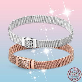Gorąca sprzedaż srebrna bransoletka 925 srebro i różowe złoto Cubic cyrkon zapięcie odbicie bransoletka dla kobiet biżuteria ze srebra próby 925 tanie i dobre opinie CN (pochodzenie) Chain link bransoletki SILVER 925 sterling Kobiety ----- Certyfikat GDTC zaręczyny Drobne TRENDY Diamond