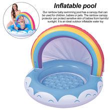 Новый Радужный надувной детский бассейн с навесом защита от