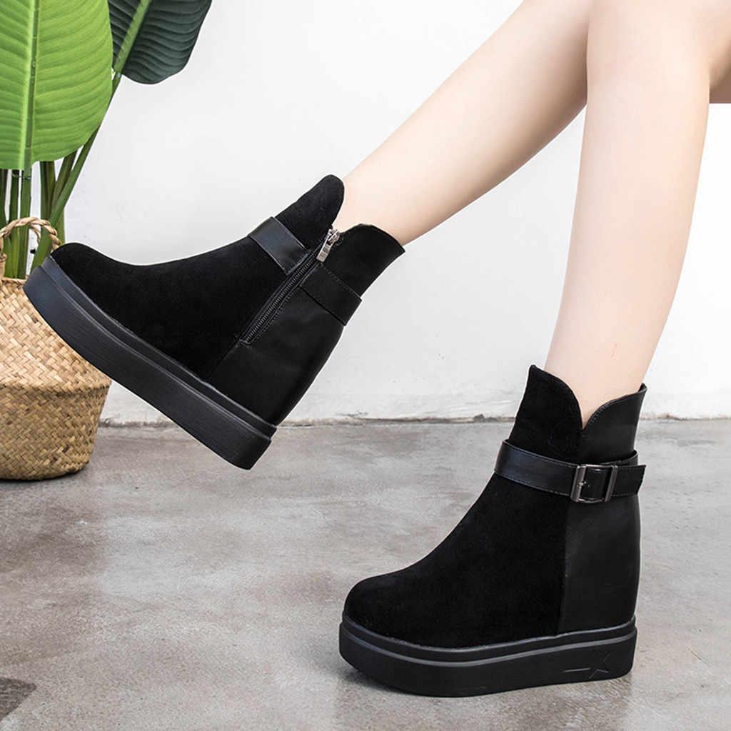 Toka kayış botları kadın rahat açık sonbahar kış bayanlar yuvarlak ayak platformu katı bayanlar ayakkabı botas mujer invierno 2019