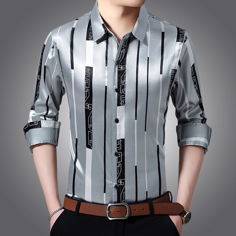 Male Silk Clothes Spring Long Sleeve Striped Silk Shirts Mens Caual Dress Shirts