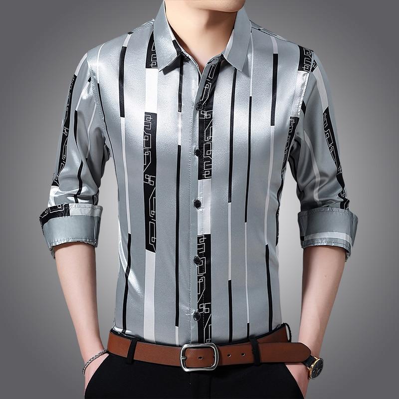 Male Silk Clothes Spring Long Sleeve Striped Silk Shirts Mens Caual Dress Shirts