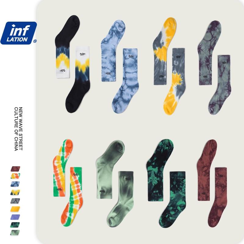 INFLATION DESIGN Men Tie Dye Ankle Socks Unisex Cotton Socks Streetwear Fashion 2020 New Collection Men Casual Tie Dyed Socks