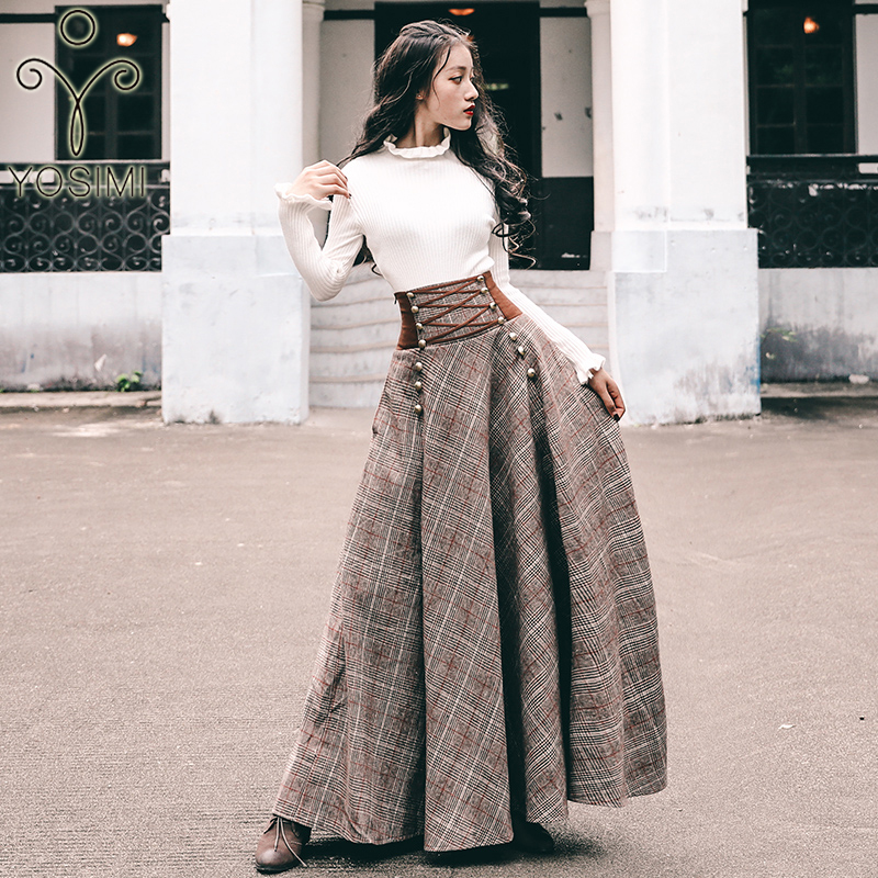 YOSIMI 2019 Autumn Winter Sweater Skirt Set Full Sleeve Blouse Top And Woolen Plaid Skirt And Top Set Women Two Piece Outfits