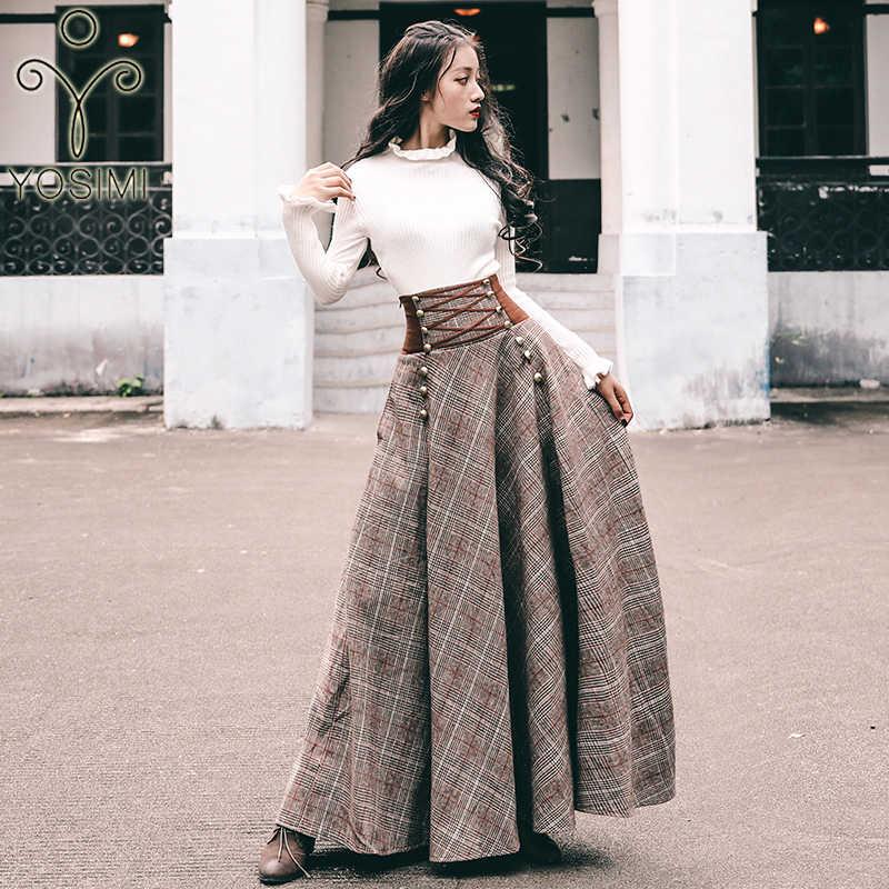 YOSIMI, Осень-зима 2019, комплект юбки и свитера, блуза с длинным рукавом, топ и шерстяная клетчатая юбка и топ, комплект женской одежды из двух предметов