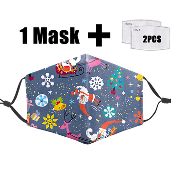 Cute Santa Claus Printed Mask PM2.5 Filter Reusable Mouth Face Mask Anti Dust Washable Masks Protection Bacteria Proof Flu Mask