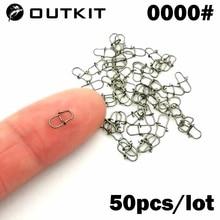 OUTKIT 50PCS 스테인레스 스틸 핀 회전 낚시 액세서리 커넥터 루어 클립 롤링 스위블 바다 낚시 태클