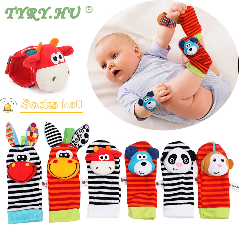 2pcs Baby Socks Wrist Rattle Toys Lovely Cartoon Handbells Hand Foot Developmental  Soft Infant Foot Socks Wrist Strap Rattles