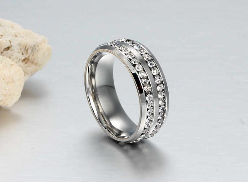 ZORCVENS nowa marka czarne złoto srebro kolor podwójne wiersz kryształ kamień pierścionki zaręczynowe ze stali nierdzewnej dla człowieka kobieta