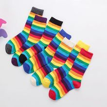 цена на 1 Pairs New Color Stripe Middle Sleeve Socks Cotton Women's Leisure Middle Sleeve Rainbow Socks Warm Trend in Autumn and Winter