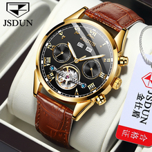 Jsdun 년 디스플레이 공장 도매 사용자 정의 중공 기계식 시계 방수 빛나는 남자 자동 시계 relogio masculino
