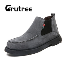 2019 Chelsea Boots Men Suede Leather Without Laces Winter Shoes Casual Plus Size Comfortable Snow Warm