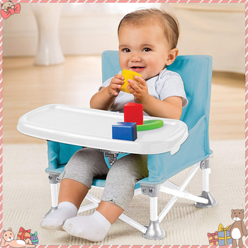 Folding PortableBaby High Chair Travel Booster Seat With Tray Camping Beach Lawn Tip-Free Design Kitchen Chairs High Chair