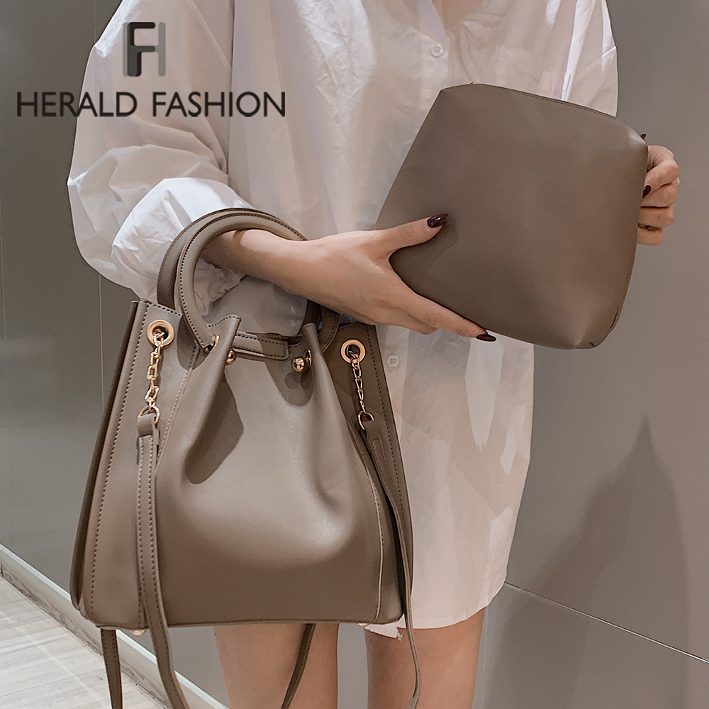 Herald Fashion Women Pu Leather Handbag Female Chain Shoulder Bags Famous Brand Korean Style Women Bags Ladies Casual New 2019