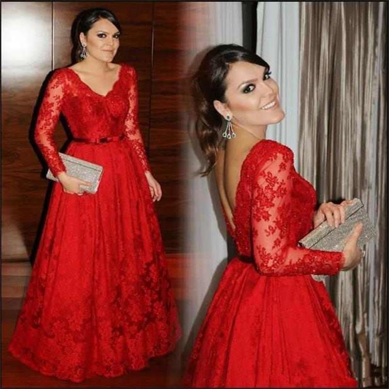 Elegant Red Mother Of The Bride Dresses 2019 Full Lace V Neck Sheer Long Sleeves Women Formal A Line Charming Evening Dress