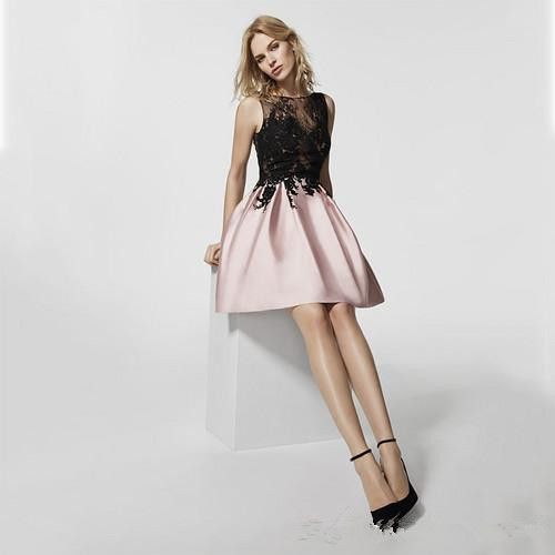 Розовые платья для выпускного бала трапециевидные Короткие мини атласные аппликации с открытой спиной коктейльные платья
