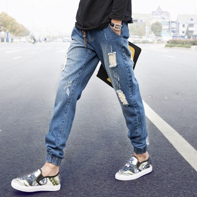 2016 Summer Wear Men's Skinny Korean-style Harem Pants Men With Holes Cowboy Ankle Banded Pants Fashion Man Baggy Pants Skinny P
