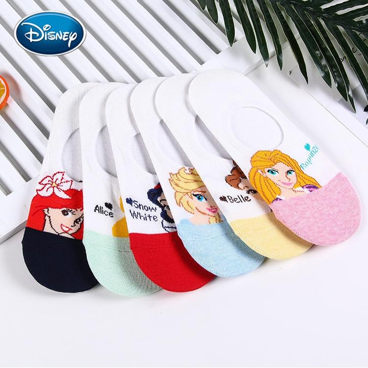 Disney 1pair Cartoon Ladies Boat Socks Aisha/mermaid/cinderella/bell/snow/long Hair Princess Print Sweet Non-slip Shallow Socks