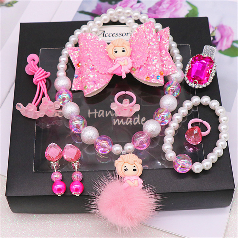 Elsa Princess Children Necklace Bracelet Set Beaded Girls Cartoon Frozen 2 Hair Accessories Ear Clip Cosplay Photo Prop Kid Toys