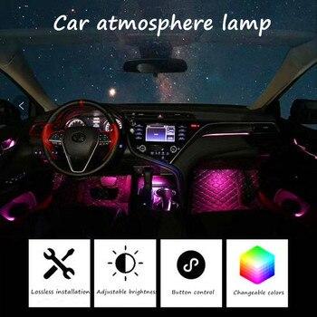 14/15/16/17/18 in 1 Car Ambient Light Storage Box Footlight RGB Optical Fibre 64colors Wireless No Threading App Control - discount item  49% OFF Car Lights