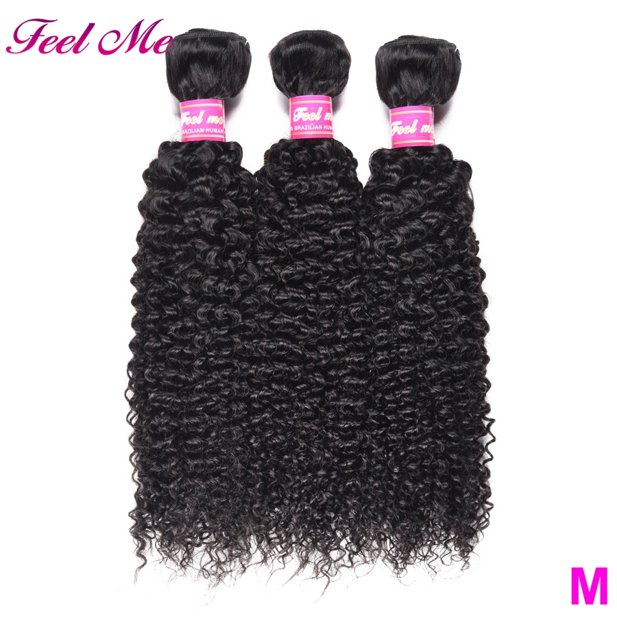 FEEL ME Kinky Curly Hair Bundles Brazilian Curly Human Hair Bundles Middle Ratio Non-Remy Hair Weave Extensions Can Buy 3/4 PCS