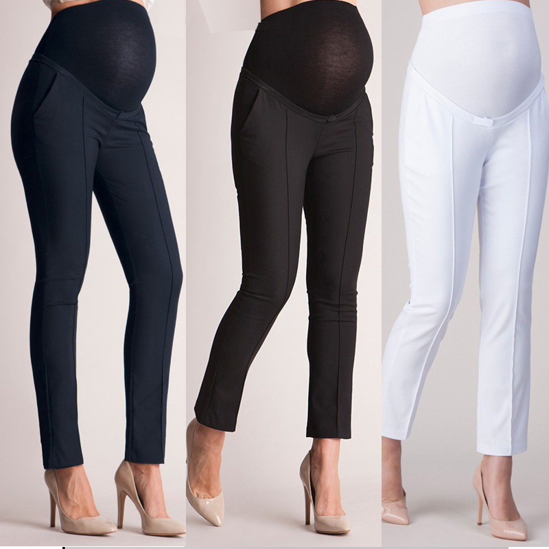 Pregnant elasticity Loose Pure color stomach pants women leggings thin section Casual trousers Maternity Clothings