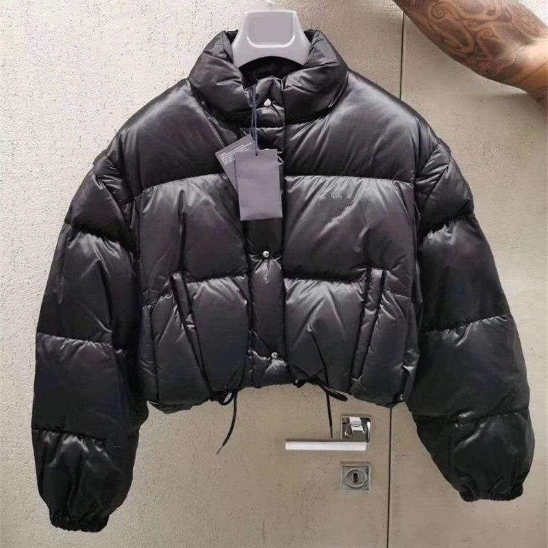 Женская пуховая куртка с воротником-стойкой, черная/светло-голубая короткая пуховая куртка со съемным воротником, зима 2020
