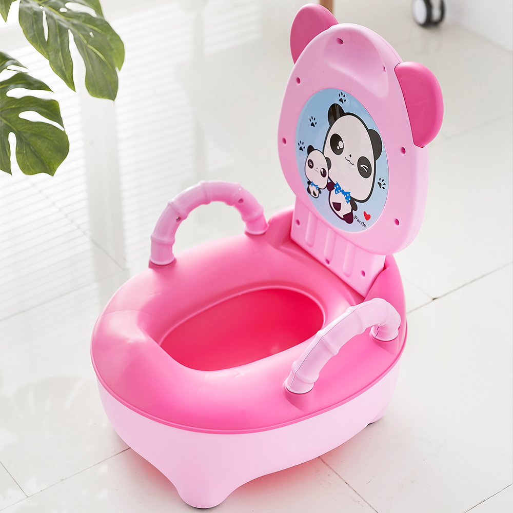 Baby Pot Kids Cartoon Panda Toilet Trainer Children Training Potty Toilet Seat Portable Travel Urinal Comfortable Backrest Pots
