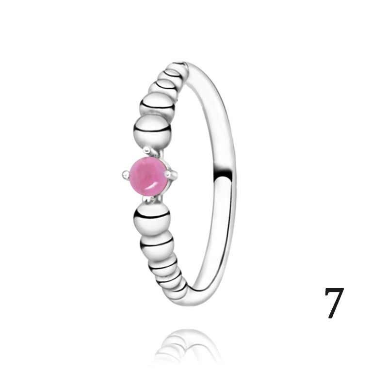 2020 Nieuwe Authentieke 925 Sterling Zilveren Ringen Geboortesteen Kralen Ringen Anniversary Engagement Ring Vrouwen Sieraden Verjaardagscadeau