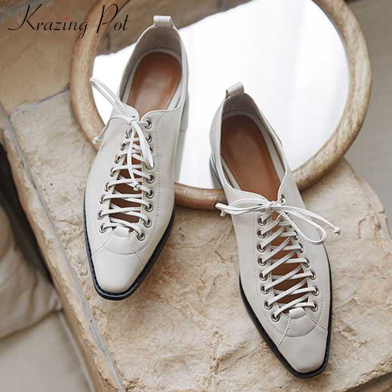 Krazing Pot Vintage Design Genuine Leather Casual Shoes Chic Lace Up Small Square Toe Low Heels Women Solid Fashion Pumps L08