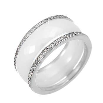 Кольцо из серебра с керамикой и фианитами R118-1