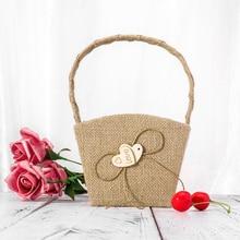 Винтажная Свадебная Мешковина из натуральной ткани Цветочная корзина для девочек с деревянным сердцем
