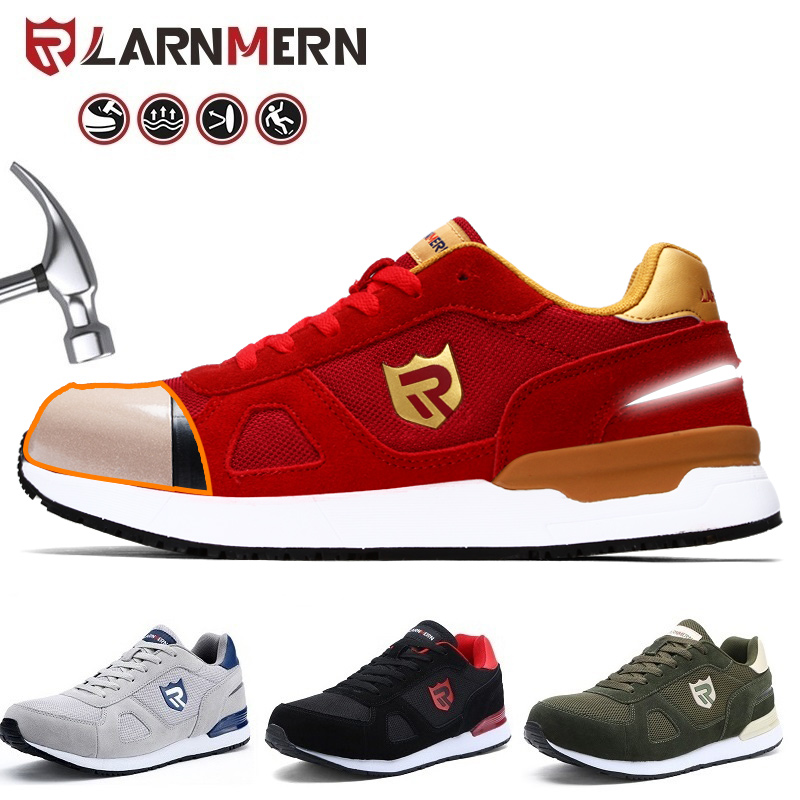 LRNEMRN Work Safety Shoes For Men Women Steel Toe Lightweight Breathable SRC Non-Slip S3 Industrial Shoes Black Red Blue Grey