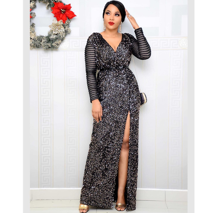 BAIBAZIN Europe And Africa Style Women's Dress Velvet Bottom Sequin Fight Elastic Sequin Long Sleeve Dress With Belt