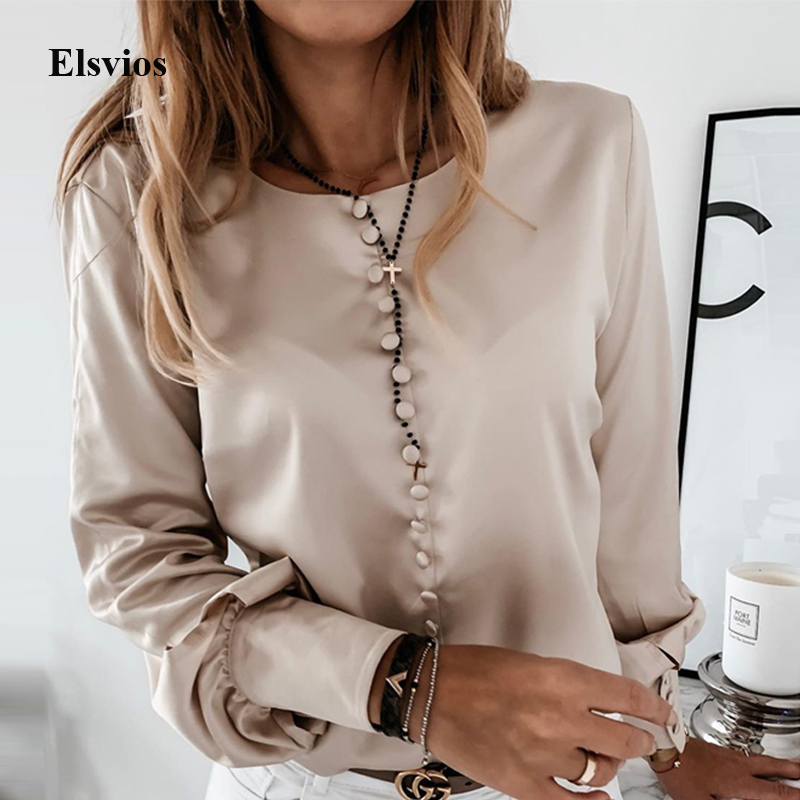 Elegant Office Ladies Button Shirt Blouse Women Letter Print Puff Long Sleeve Pullover Casual Stand Neck Blouse Tops Blusa Mujer