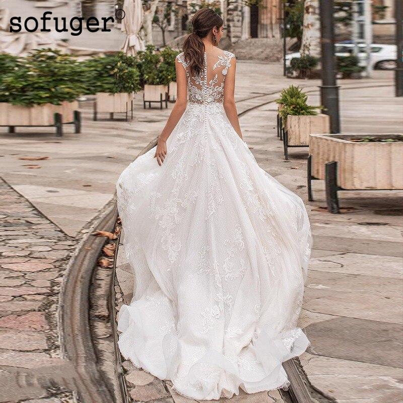 Robe De mariée blanche ivoire dentelle Appliques Robe De Mariee Sofuge Dubai arabe Abiti Da Sposa plissé Tulle Robe De mariée