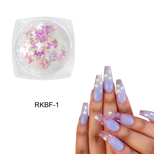 1 Box Holographic Butterfly Shape Nail Glitter Flakes Sparkly 3D  Colorful Sequins Spangles Polish Manicure Nails Art Decoration 2