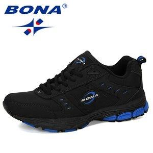Image 2 - BONA 2019 New Arrival Cow Split Tênis Homem Não Deslizamento Respirável Calçados Esportivos Zapatos Homens Ao Ar Livre Tênis de Corrida calçado