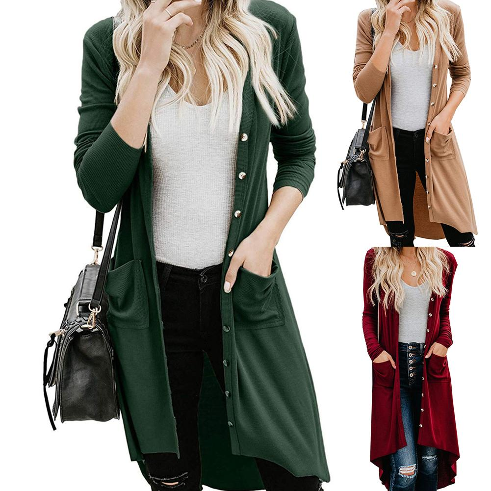 Autumn Women Solid Color Button Pocket Long Sleeve Knitted Cardigan SweaterCoat New Chic