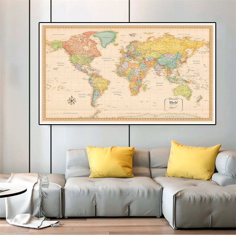 The Retro World Map 5 Sizes Poster Non-woven Canvas Painting Wall Art Picture Home Decoration School Supplies Children Study