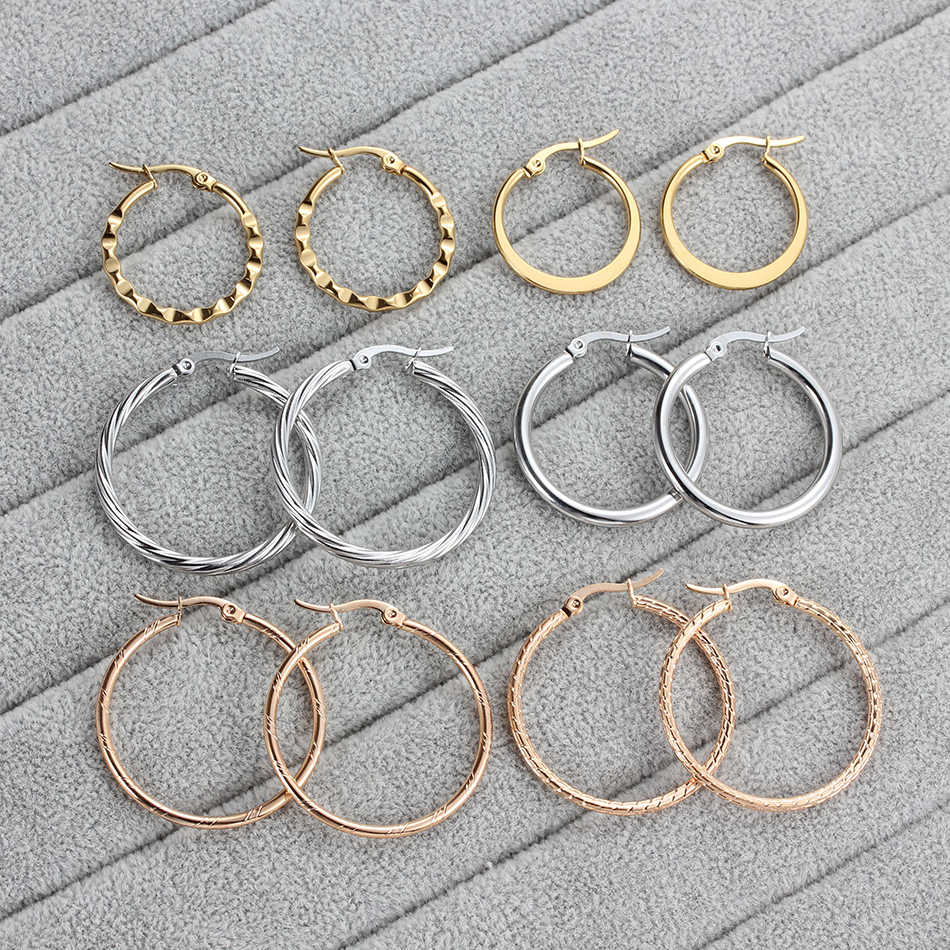 1 Pair Stainless Steel Circle Earring For Women Silver/Rose/Gold Round Hoop Earrings Ladies Jewelry Wholesale 2019