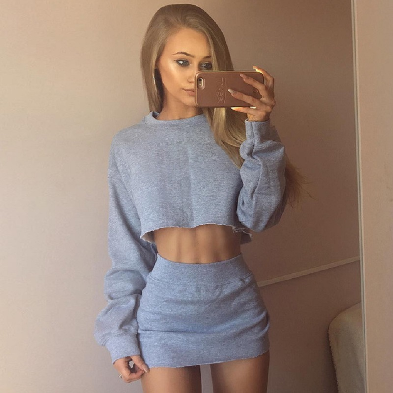 2020 Autumn Women's Two-piece Explosion Models Simple Fashion Navel Sweater Irregular Skirt Suit Female W709