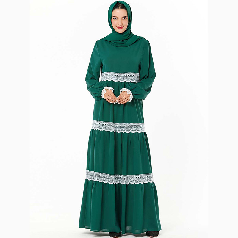 Middle Eastern Fashion Robes Lace Stitching Long-sleeved Casual Long Dress Muslim Dubai Arab Emirates Ramadan Mosque Long Skirt